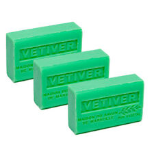 3 x 125g  Vetiver French Soaps - with Shea Butter - Savon de Marseille