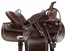 New 16 Brown Pleasure Texas Billy Show Trail Round Western Horse Leather Saddle