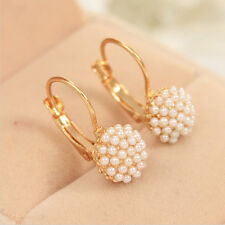 Women Pearl Ear Cuff Beads Stud Earrings Chic Gold Plated Drop Earings WL