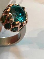 Blue Zircon Ring 18k Palladium & Rose Gold Tsavorite Garnets Designer $8400