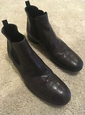 PRADA Men's Brown Wing Tip Chelsea Ankle Boots Size 9.5