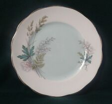 QUEEN ANNE LOUISE SIDE PLATE BONE CHINA PINK & WHITE FLOWERS GREEN FERN & LEAVES