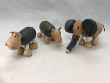 Anamalz Wood Toys RHINO, HIPPO and ELEPHANT  (G)
