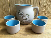 Pigeon Forge Tennessee American Art Pottery Dogwood Pitcher Jug Cups Juice Set