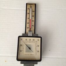 VINTAGE AIRGUIDE ART DECO METAL HYGROMETER THERMOMETER FEE AND STEMWEDEL IDEAL