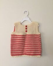 Baby Girls/Boys Knitted Cardigan Handmade New Peach red and beige