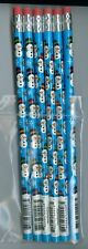 Winter happy snowmen and snowflakes on blue pencils. Set of 6!