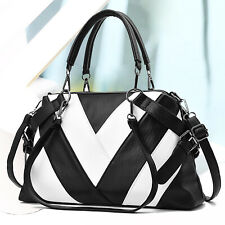 Schwarz-Weiß Damentasche Leder Shopper Bag Handtasche Schultertasche Tragetasche