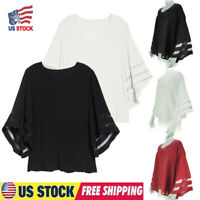 Solid Womens V Neck 3/4 Bell Sleeve Chiffon Loose Shirt Tops Blouse Size S-5XL