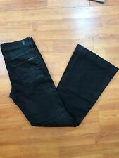 7 For All Mankind Ginger Black Waxed Flare High Waist Jean Size 28 6 GUC