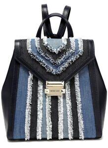 Michael Kors Backpack Bag whitney Md Backpack Denim Multi New