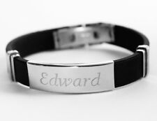 EDWARD - Mens Silicone & Silver Name Plate Engraved Bracelet - Gifts For Him