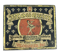 Antique Tin Mouquin French Bouillon Tablets early 1900s Empty 2in Kitchen Spice