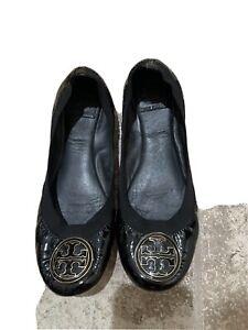 Tory Burch Reva Women's Black Patent Leather Ballet Flats Shoes Size US 9