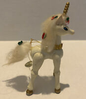 Vintage Kurt S Adler Wooden Unicorn Ornament 1981 With Tag And Sticker