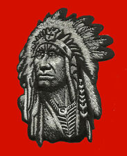 Indian Chief  embroidered Skull BIKER INDIAN CHIEF IRON ON PATCH