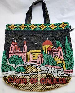 "VTG Cana Of Galilee Souvenir beaded Tote Bag Israel Jerusalem Drawstring 15"" x15"