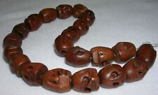21 PC HAND CARVED SKULL SHAPED WOOD BEADS CHINA 12mm w/ 2mm HOLE