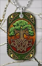 CELTIC TRIQUERA TREE OF LIFE DOG TAG PENDANT NECKLACE FREE CHAIN -ilj8Z