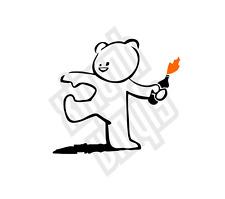 Banksy Bear vinyl sticker decal bomber riot molotov throwing car window optional
