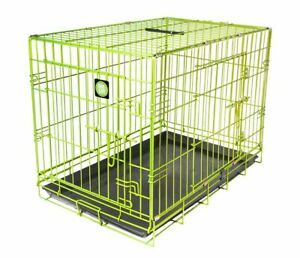 DOG TRANING CRATE Lime Green Strong Travel Cage Carrier Handle Easy Clean