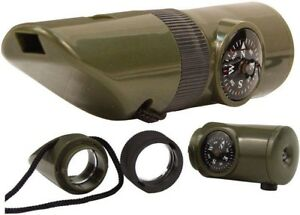 Olive Drab 6-in-1 Tactical Whistle Kit Outdoor Survival Gear
