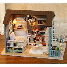 3D DIY Doll House LED Music Light Furniture Kits Mini Wooden Dollhouse Kids Gift