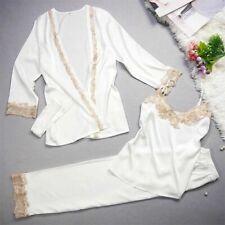 New Luxurious Silk Ladies Womens Set of 3 Pearl White Pyjamas Pajamas ladpj178