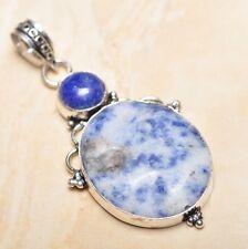 """Handmade Blue Sodalite Jasper Gemstone 925 Sterling Silver 2.5"""" Pendant #P16265"""