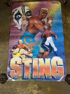 VINTAGE 1995 WCW STING ORIGINAL POSTER FIGURE SHIRT WWF WWE NWO NWA HASBRO LJN