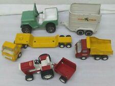 Lot of 7 Tonka Vehicles Truck Jeep Horse Trailer Dump Truck Tractor Cart