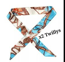 Brand New x2 Silk Twilly Blue Scarves Bag Charm for Handles or Hair Scarf Bow