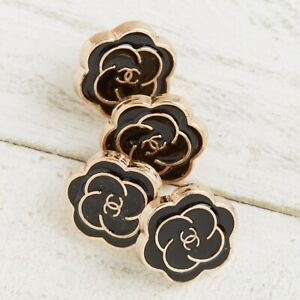 Chanel Buttons 4pc CC Black & Gold Flower 12.5mm 4 Buttons unstamped AUTH!!!
