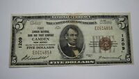 $5 1929 Camden New Jersey NJ National Currency Bank Note Bill! Ch. #1209 FINE