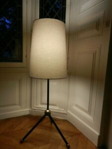 DESIGN LAMPADAIRE LISEUSE METAL LAQUE NOIR ANNEES 1950