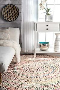 Rug Braided Round Floor Mat Handmde Reversible White Cotton Floor Rug 12X12 Feet