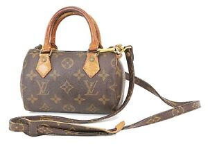 Auth LOUIS VUITTON Speedy Mini Monogram Boston 2-Way Shoulder Handbag #38224