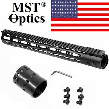 "MST OPTICS 15"" Inch Super Slim Keymod Rail Free Float HandGuard w/ Steel Nut 3KM"