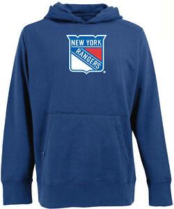 Antigua Mens New York Rangers Hooded Applique Pullover Sweatshirt Royal Blue S