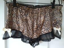 Sista Shei Silky Satin feel sleep night shorts animal  print lace briefs size 10