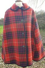 vintage 60s reversible tartan check wool cape