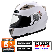 White FULL FACE Modular Flip Up Front Helmet Suit Road Bike Motorcycle ECE22.05