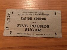 Rare Vintage Food Ration Coupon for Five Pounds Sugar