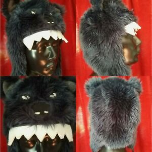 Fat Face womens 🌹emo fun ear flaps warm animals ❤️Monster 🐺 wolf furry Hat