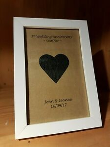 Personalised 3rd Wedding Anniversary frame gift. Leather anniversary. Gift wrap