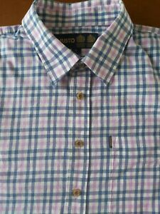 MUSTO COUNTRY SHIRT XL COLLAR NECK 17 1/2 BRUSHED COTTON BLUE PINK CHECKED