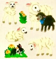 **RARE** FUZZY LAMB LAMBS FAMILY Sandylion Stickers - 2 sq ~NO LONGER IN PRINT~