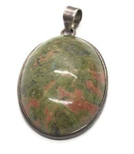 Vintage Sterling Silver 925 Pendant Unakite Green Orange Stone
