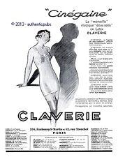 PUBLICITE CLAVERIE CINEGAINE GAINE CORSET SOUTIEN GORGE DE 1935 FRENCH AD PUB