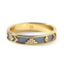 New House of Harlow Aztec Bangle Sapphire Blue 14k Gold P Vintage Round Bracelet